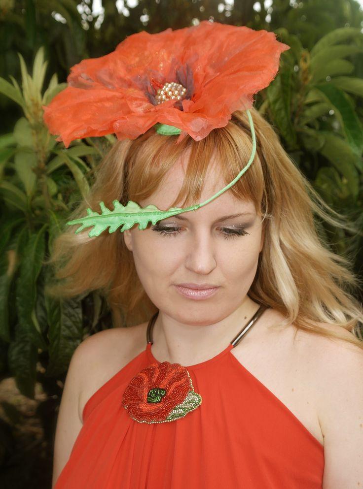 """Poppy"", Red Embroidered Brooch by #VikaRepka, hat by #VictoriaKo"