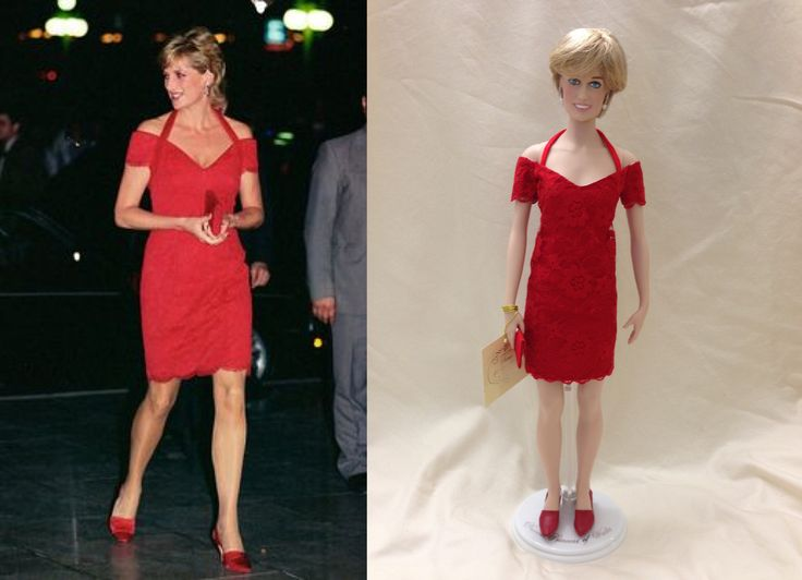 This is a custom replica of a red lace cocktail dress by designer Catherine Walker. Princess Diana wore this dress on a solo visit to Argentina in 1995. #Princess Diana dolls