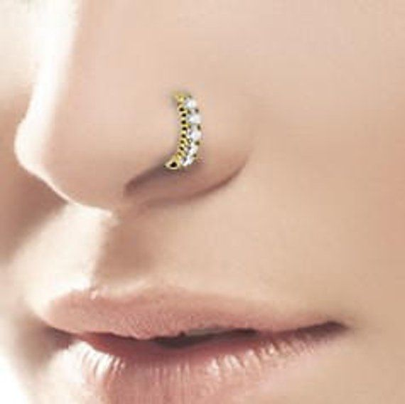 Beautiful Golden Surgical Steel Nose Ring Hoop With Cz S 20g 8mm