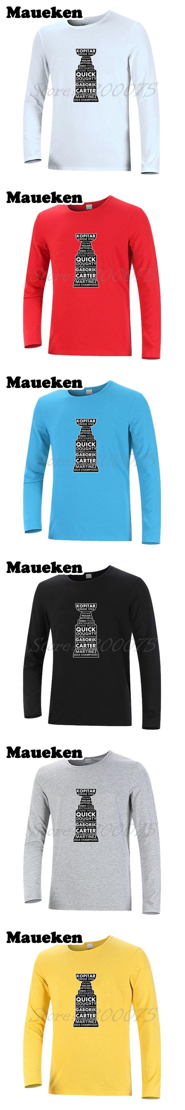 Men 2014 Stanley Cup Champions all Player Anze Kopitar Quick Kings Martinez Carter Clifford Gaborik Brown T-Shirt Long Sleeve