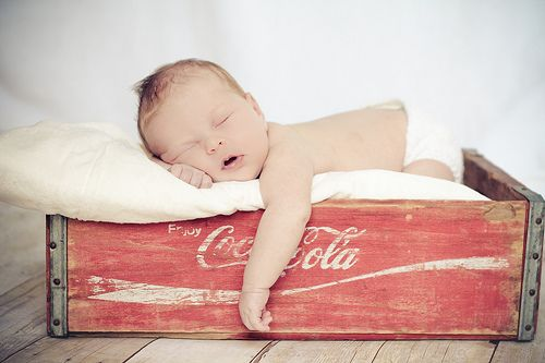 Already had this idea with my coke box if stew is a boy.....wish I could find a Stewarts Rootbeer box:)