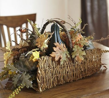 Faux Pin Oak Basket Arrangement #potterybarn: Centerpieces Ideas, Fall Decor, Baskets Arrangements, Faux Flowers, Oak Baskets, Faux Pine, Arrangements Potterybarn, Pin Oak, Pottery Barns