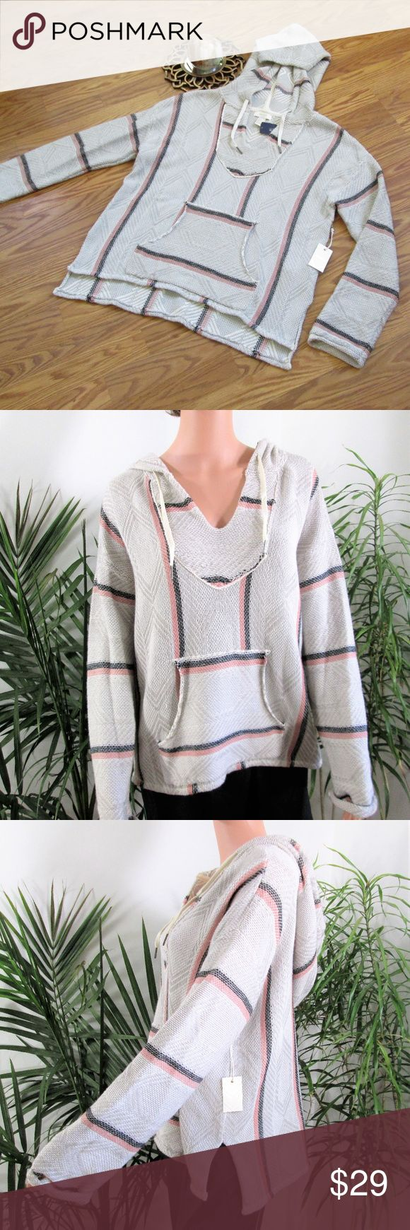 "NEW! F21 Baja Pullover Hoodie Super soft knit hoodie is cream/gray with black/coral design. Tie hood, kangaroo pocket, slight hi - lo hemline. Cotton acrylic blend.  Measured flat. 21"" pit to pit. 23"" long front. 26"" long back.  on 5' 9'' model, 33'' x 24'' x 33.5''. Forever 21 Tops Sweatshirts & Hoodies"