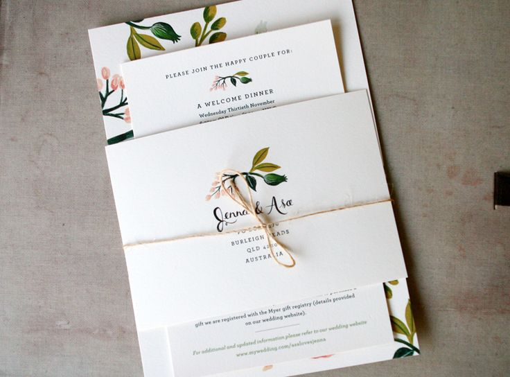 I wouldn't want this with this floral pattern - but like the simplicity and part that goes around. Floral-Australia-Wedding-Invitation-Rifle-Paper-Co3