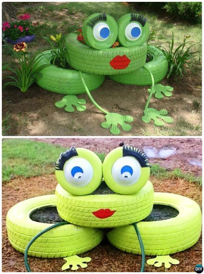 DIY Tire Frog Planter-20 Colorful Garden Art DIY Decorating Ideas