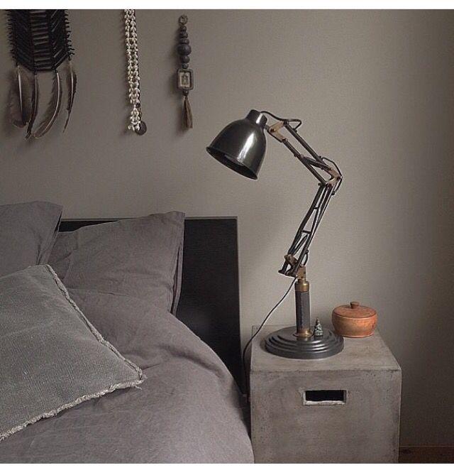 Grey bedroom. Home Of Susanna Säfsund, Raw Interior. @susanna_raw_interior