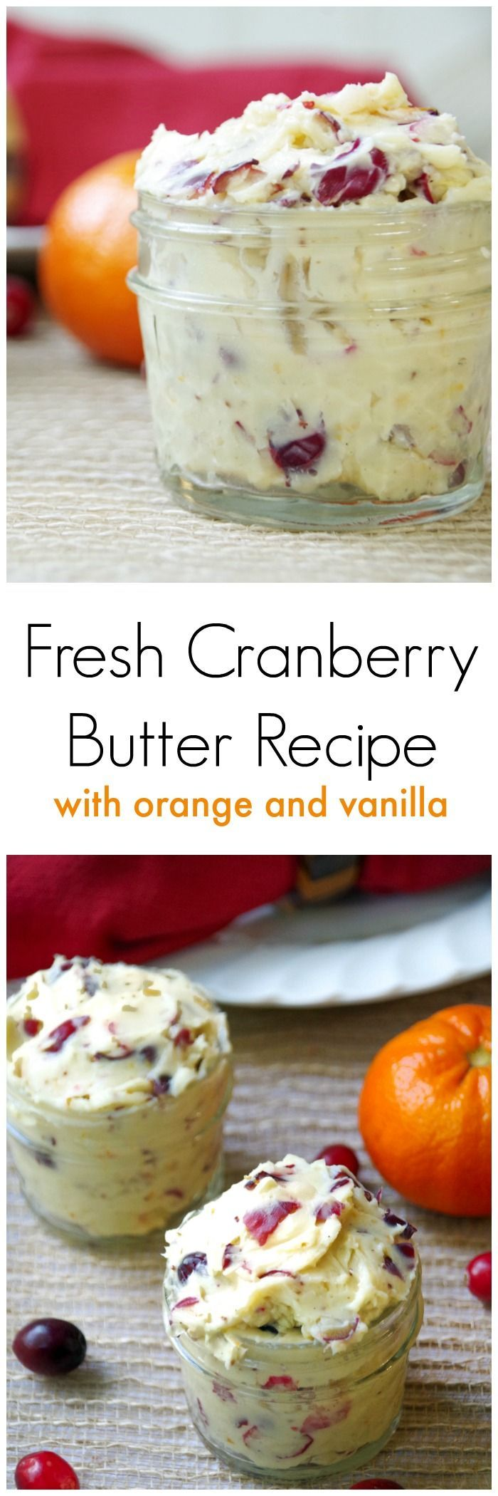Looking for easy cranberry recipes?  Try this fresh cranberry butter recipe with orange and vanilla.  Great on rolls, biscuits, croissants, or bagels! via @DianeHoffmaster