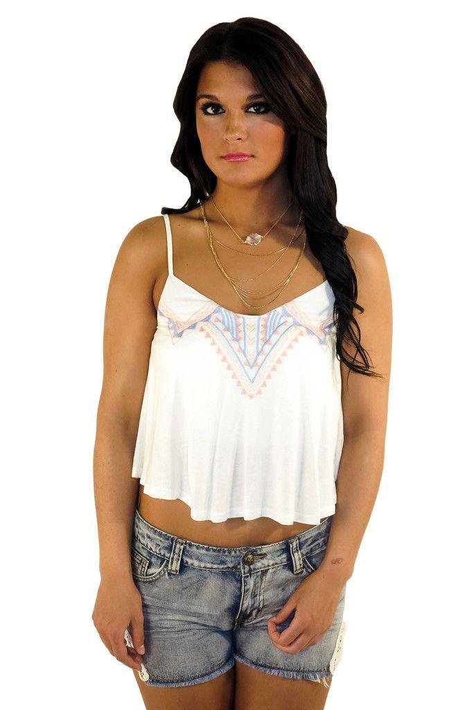 pocahontas crop - white #aztec #blue #coral #crop #croptop #large #medium #mint #pink #small #summer #top #tribal #white #yellow