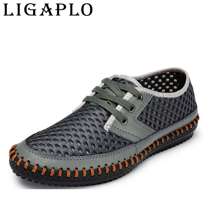 New 2017 Hollow Out Breathable Cowhide Summer Genuine Leather High Quality Fashion Shoes Men Male Casual Shoe