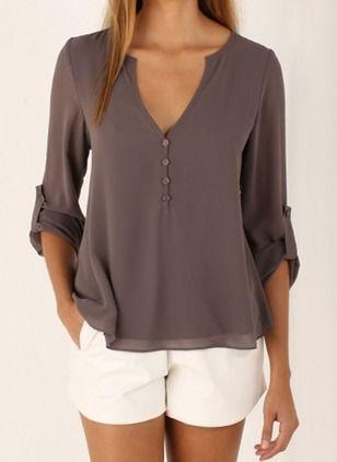 Plain Casual Polyester V-nek 3/4 mouwen Overhemd