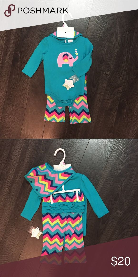 Adorable Chevron outfit Long sleeve onsie, ruffle butt pants and matching bib. Never worn, tags still attached. Matching Sets