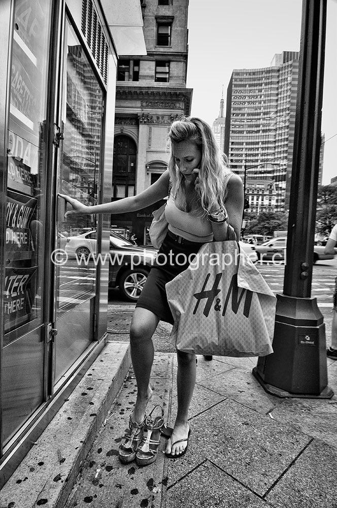 woman changing shoes New York