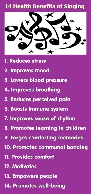 Get all the benefits of singing and make new friends at With One Voice http://www.creativityaustralia.org.au/   Infographic: 14 Health Benefits of Singing by MarylinJ