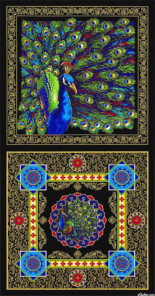 Royal Peacock - Exotic Bird - Lemon, Honey Gold, Red, Lime, Sky Blue, Sapphire, Navy, White, Black, Gold Metallic Fabric Panel;