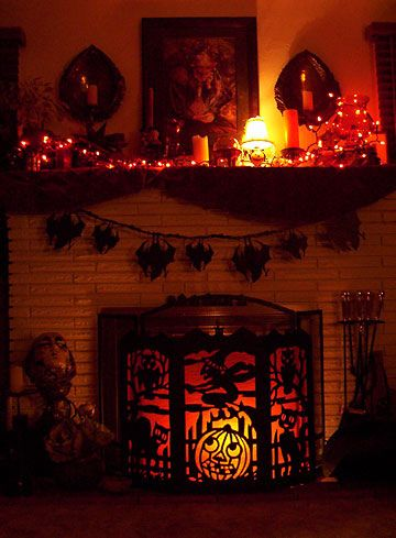 Love the fireplace cover!   #fall #autumn #decorating #decor #halloween