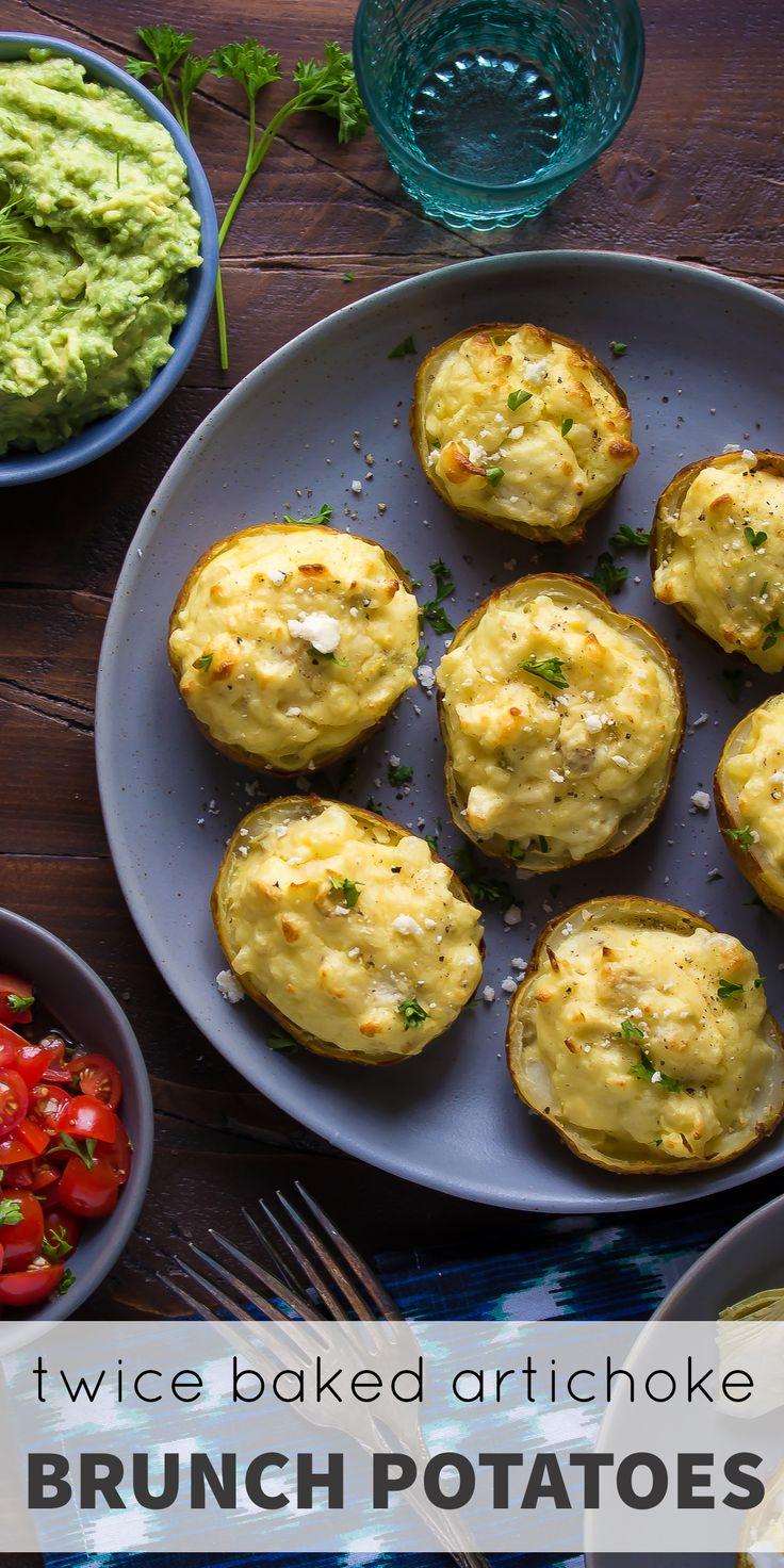 Twice Baked Breakfast Potatoes with Eggs, Feta & Artichokes | Recipe ...