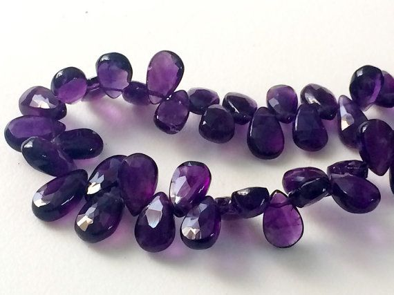 Amethyst Pear Beads Amethyst Faceted Pear by gemsforjewels on Etsy