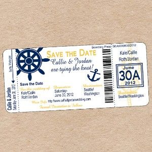 Nautical Boarding Pass Save the Date or Wedding for your theme @Nadia Gonzalez