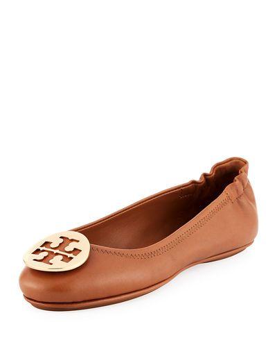 2227cd103 TORY BURCH Minnie Travel Logo Ballerina Flat, Royal Tan Gold. #toryburch  #shoes #