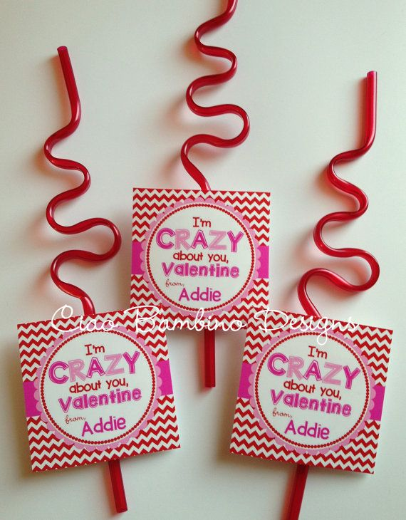 PRINTABLE Personalized Valentine's Day CRAZY Straws by ciaobambino, $6.00 | Valentine's Day ...