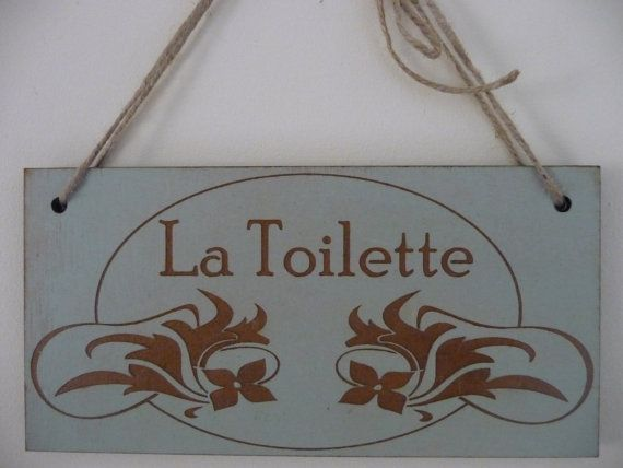 "Toilet Sign ""La Toilette""  Wooden Wall Sign    Designed and Made by Craf'u  The Engraving Workshop  100% Handmade in UK Italian Toilet Sign ""La Toilette"""