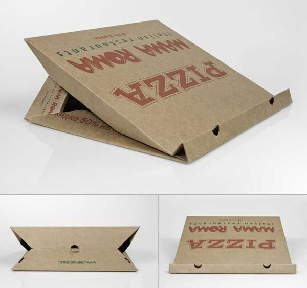 Soporte para portátil con una caja de pizza