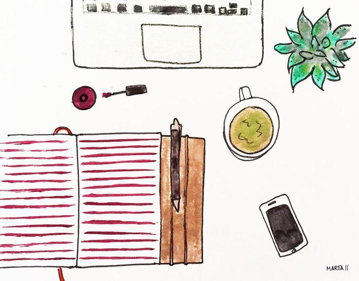 Saturday morning's desk situation by Marta Scupelli • www.Stripe-me.com