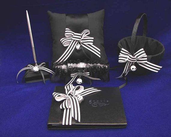 Nightmare Before Christmas Wedding Set Guest Book, Pen, Garter, Pillow & Guest Book. Love it!!!!