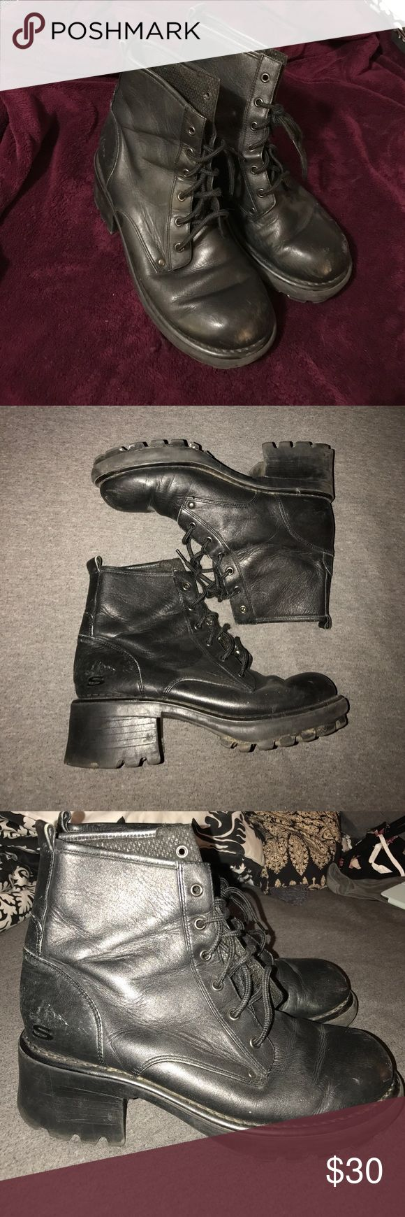 Vintage platform sketchers boots Super cute vintage platform boots! I would always gets lots of questions about these when I wore them and everyone would always be shocked when I said they were sketchers! Lol 💕 Shoes Combat & Moto Boots