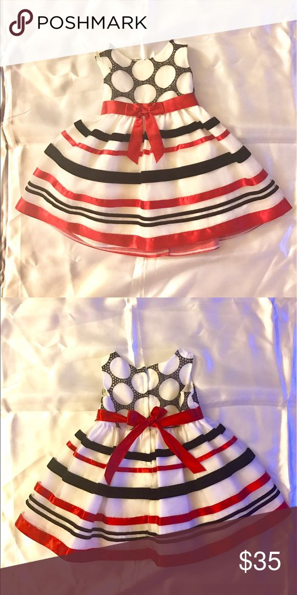 Bonnie Baby red white black stripe formal dress Pamper your.princess in this beautiful Bonnie baby dress. Skirt shell has red satin ribbon and black velvet stripes stitched onto white organza. Bonnie Baby Dresses Formal