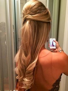 Madrinhas de casamento: Penteados para madrinhas de casamento! Para quem nao quer um cabelo preso é uma ótima opção..