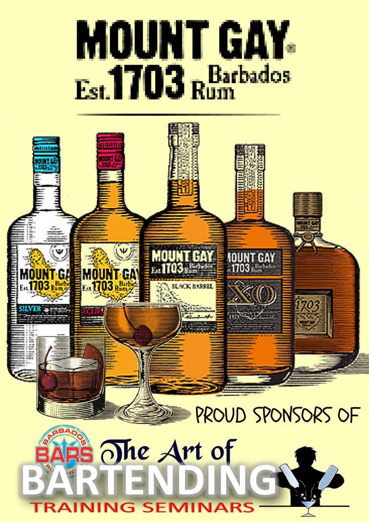 Mount Gay Rum.Proudly Sponsoring the January 2016 Semester of The Art of Bartending Training Seminars.  #MountGayRum #BlackBarrel #Eclipse #Silver #XO #MaubyRum Supporting the #development of #bartenders through #training & #Education at the #artofbartendingseminars by #barsinc #educationiskey #learningisfun #cocktails #mixology #mixologist #bartender