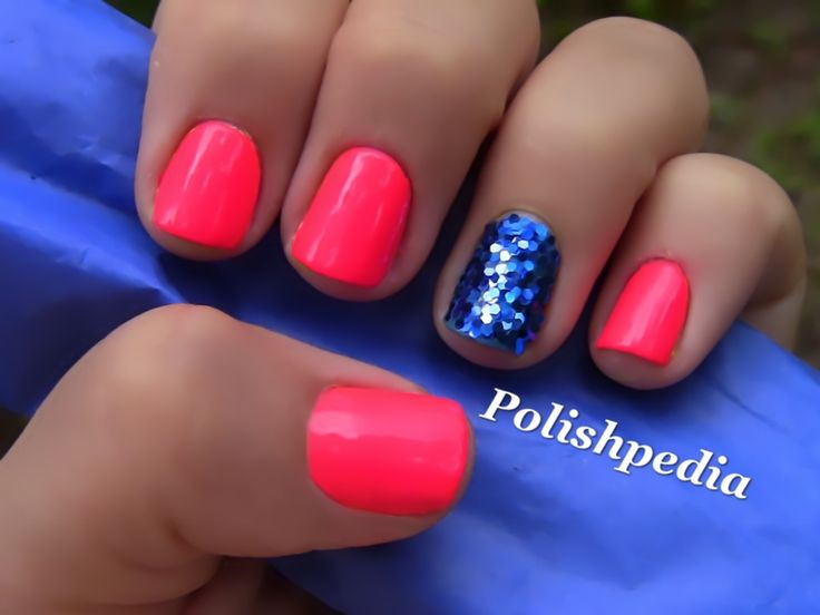 Neon Pink Nails With Blue Glitter