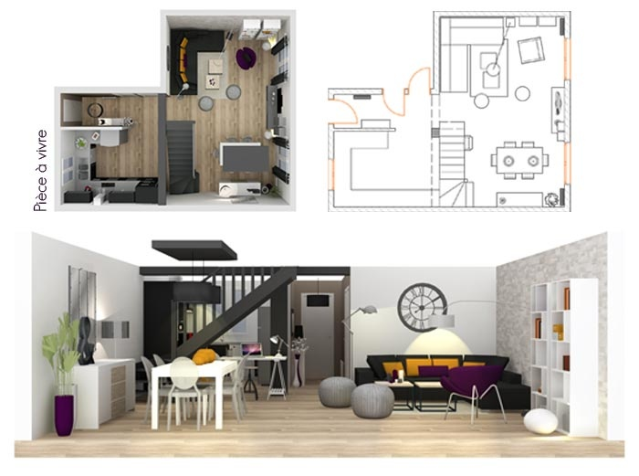 Plans et coupe 3d pour l 39 am nagement et la d coration d for Amenagement interieur 3d