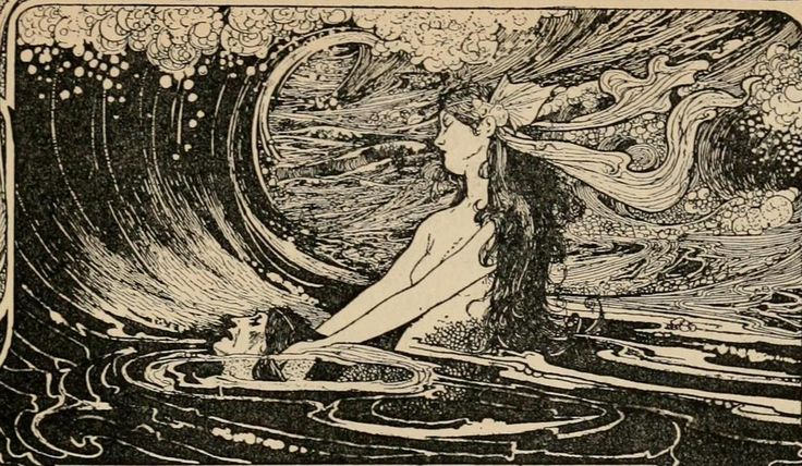 Illustration art Black and White vintage design mermaid mythology Charles Robinson Fairy tales from Hans Christian Andersen