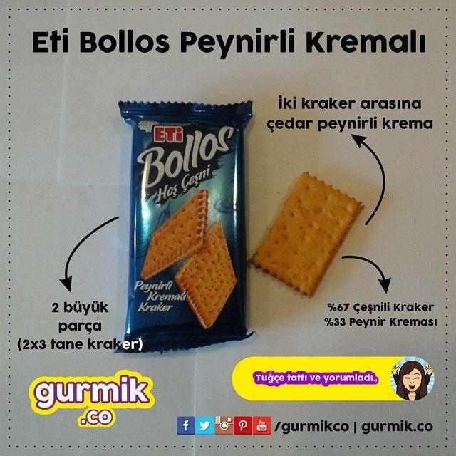 ETİ'nin yeni krakeri #Bollos un bir de peynir kremalısı var. Kreması çedar peynirinden yapılmış ve pakette de 2 büyük (2x3 kraker) parça bulunuyor. Diğer üründe de olduğu gibi Bollos'un hamuru çeşnili...