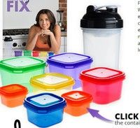 Wish | 21 DAY FIX SHAKENOLOGY 7 Piece Portion Control Containers Kit with One Protein Shaker Bottle Lunch Box Food Storage for Bodybuilding (Color: Multicolor)
