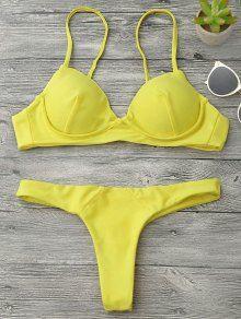 Underwire Push Up Thong Bikini Set YELLOW: Bikinis M   ZAFUL