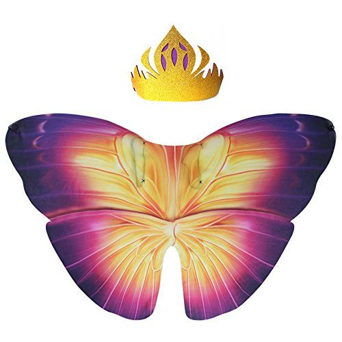 iROLEWIN Kids Dreamy Butterfly Wings Costume For Girls Fancy Dress Up Pretend Play Party Favor (#01 Butterfly Wings With Crown) - iROLEWIN Kids Dreamy Butterfly Wings Costume For Girls Fancy Dress Up Pretend Play Party Favor (#01 Butterfly Wings With Crown) ...
