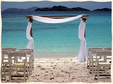 Beautiful/simple white beach wedding...St. Thomas Island Wedding Services