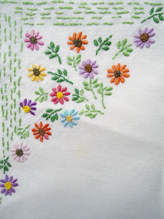 Beautiful embroidered vintage linen
