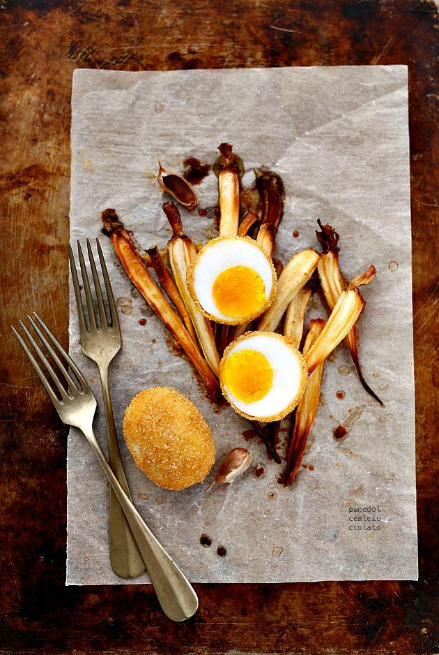 Uova sode impanate e fritte con Pastinache al miele   PANEDOLCEALCIOCCOLATO