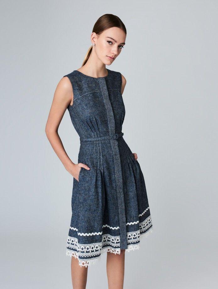 OSCAR DE LA RENTA Silk-Linen Donegal Tweed Dress. #oscardelarenta #cloth #