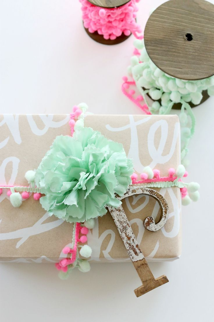 gift wrapping pom poms