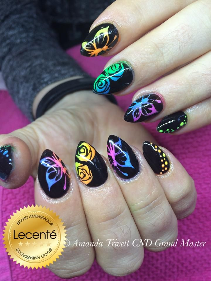 #lecente #neons are not just for #summer! Amanda Trivett‎ has created these #nails using #CNDshellac with #Lecenté #neons & #handpainted #design #lovelecente
