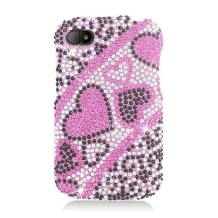Insten Hot Hearts Hard Snap-on Rhinestone Bling Case Cover For BlackBerry Q10