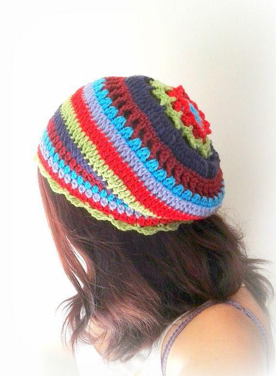 Béret bohème gypsie tricoté main au crochet multicolore unique créateur made in France : Chapeau, bonnet par c-comme-celine