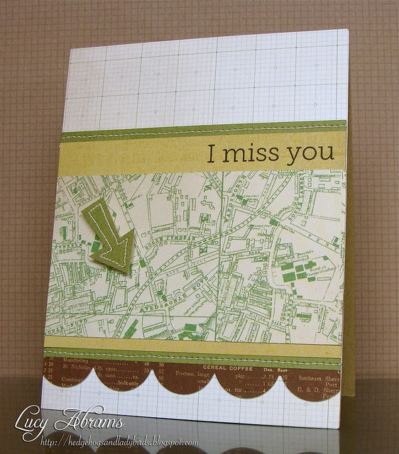 Miss You by Lucy Abrams, via Flickr: Galleries, Cards Stockings, Cards Ideas, Miss You, Maps, Lucy Abrams