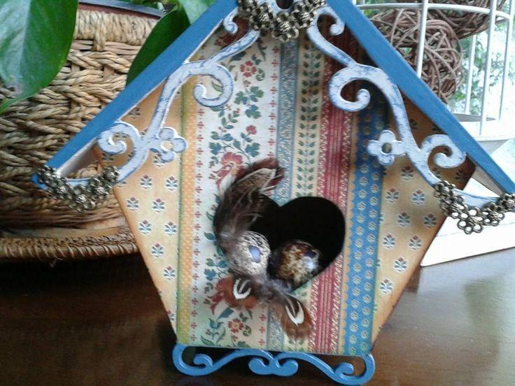 cajita de pajarito decorativa técnica scrapp