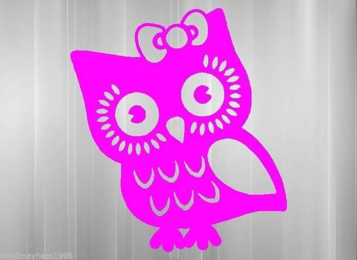 Girl Owl with bow vinyl sticker decal car truck suv wall ...